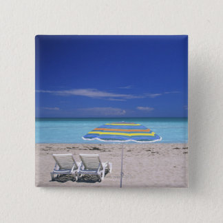 Umbrella and two lounge chairs on beach, Miami 15 Cm Square Badge