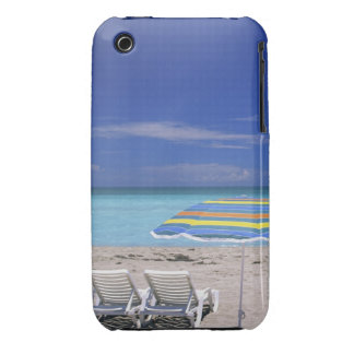 Umbrella and two lounge chairs on beach, Miami iPhone 3 Case-Mate Cases