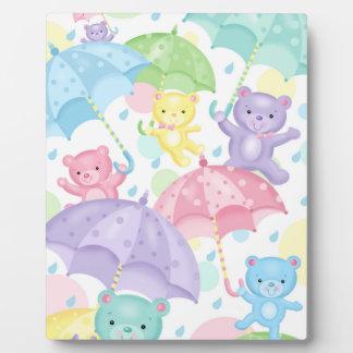 Umbrella Baby Bears Easel Plaque