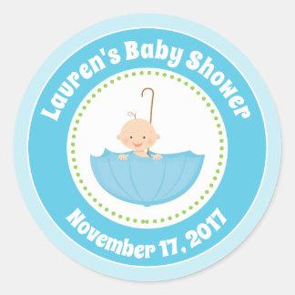Umbrella Baby Shower Favor Stickers Blue Baby Boy