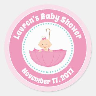 Umbrella Baby Shower Favor Stickers Pink Baby Girl