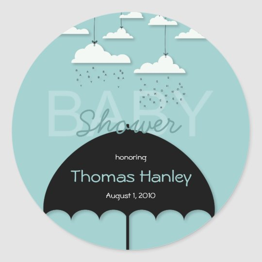 Umbrella Baby Shower Save the Date Label