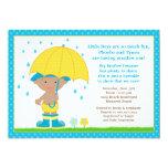 Umbrella Baby Sprinkle Shower African American Boy Personalised Invitation