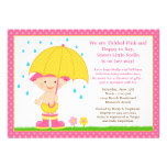 Umbrella Baby Sprinkle Shower Pink Personalized Invitation