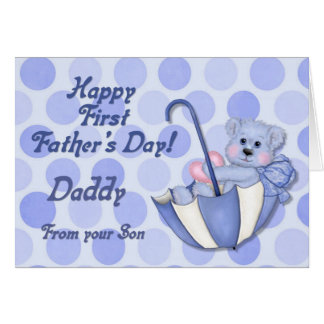 Umbrella Bear Blue - First Fathers Day Greeting Card