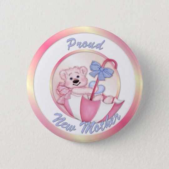 Umbrella Bear - New Mum - Girl 6 Cm Round Badge