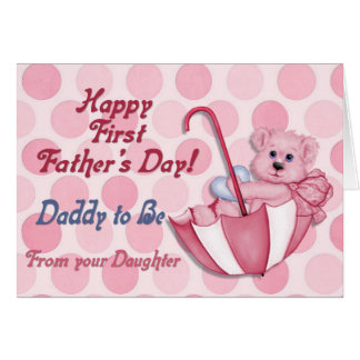 Umbrella Bear Pink - Father to Be Fathers Day Greeting Card