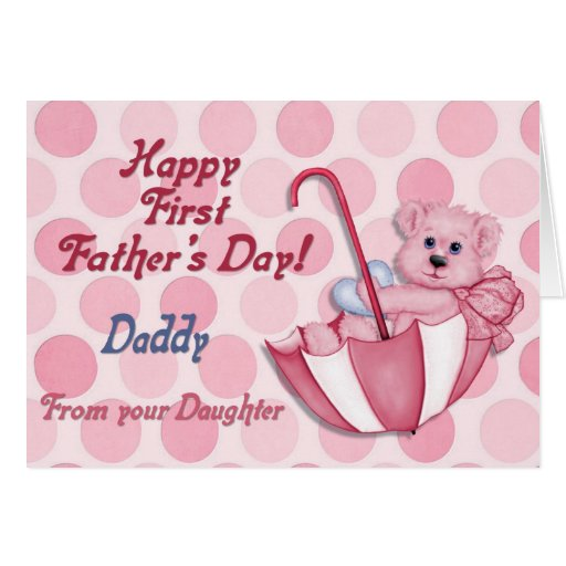 Umbrella Bear Pink - First Fathers Day Greeting Cards