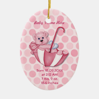 Umbrella Bear - Pink - Personalize Christmas Ornament