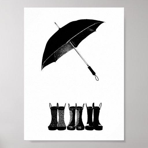 Umbrella & Boots Poster