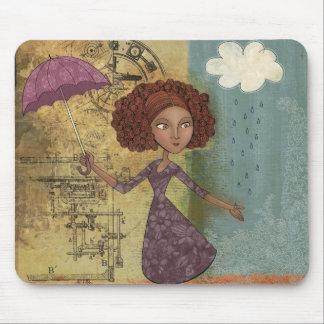 Umbrella Girl Whimsical Garden Illustration Mouse Pad