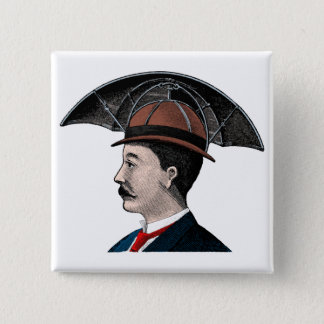 Umbrella Hat - Vintage Illustration 15 Cm Square Badge