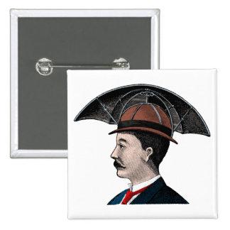 Umbrella Hat - Vintage Illustration 15 Cm Square Badge