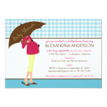 Umbrella Mummy Gingham Baby Shower Invite (aqua)