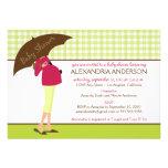 Umbrella Mummy Gingham Baby Shower Invite (lime)