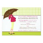 Umbrella Mummy Gingham Baby Shower Invite (lime) 13 Cm X 18 Cm Invitation Card