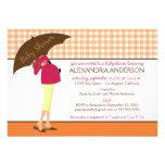 Umbrella Mummy Gingham Baby Shower Invite (orange)