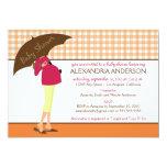 Umbrella Mummy Gingham Baby Shower Invite (orange) 13 Cm X 18 Cm Invitation Card