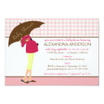 Umbrella Mummy Gingham Baby Shower Invite (pink)