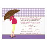 Umbrella Mummy Gingham Baby Shower Invite (purple)