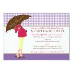 Umbrella Mummy Gingham Baby Shower Invite (purple) 13 Cm X 18 Cm Invitation Card