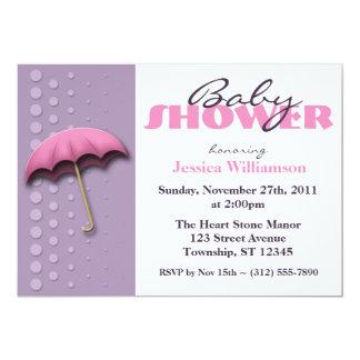 Umbrella Pink & Purple Baby Shower Invitations