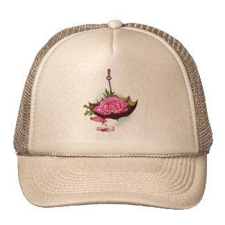 Umbrella Pink Rose Trucker Hats