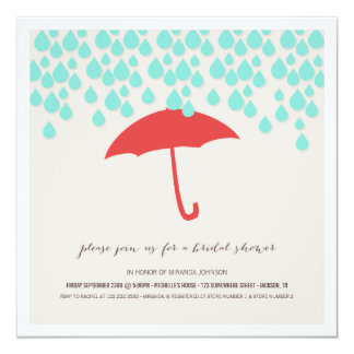 Umbrella & Rain Drops Bridal Shower Invitations