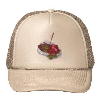 Umbrella Red Rose Trucker Hats