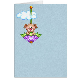 Umbrella Riding Bear Pixel Art Card