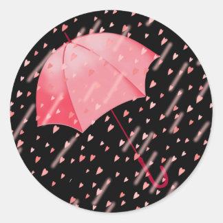 UMBRELLA SHOWERS OF LOVE by SHARON SHARPE Classic Round Sticker