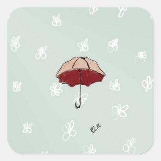 Umbrella Square Sticker