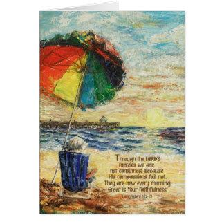Umbrella Sunrise Lamentations 3:22-23 Card