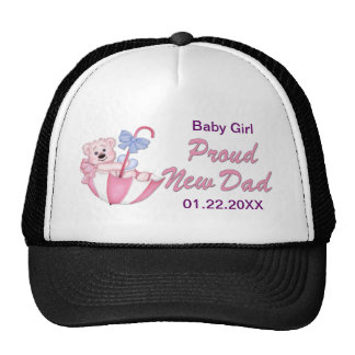 Umbrella Teddy Bear - New Dad of Girl - Customize Cap