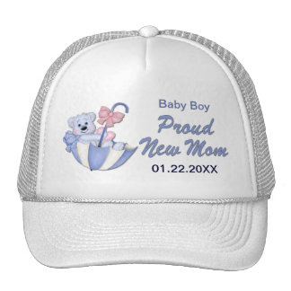 Umbrella Teddy Bear - New Mom of Boy - Customize Cap