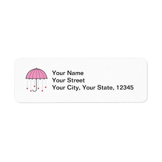 Umbrella with Hearts (Pink) Return Address Label