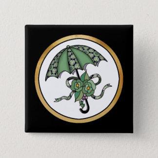 Umbrella with Roses 06 15 Cm Square Badge
