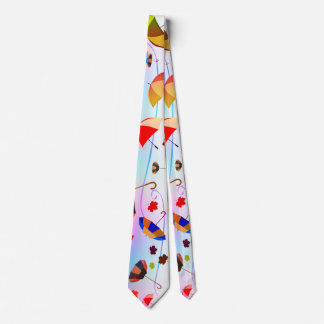 Umbrellas and leaves tie