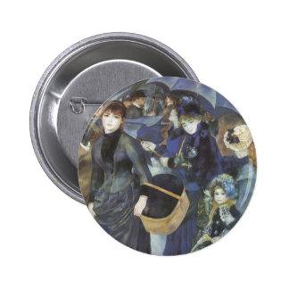 Umbrellas by Renoir, Vintage Impressionism Art 6 Cm Round Badge