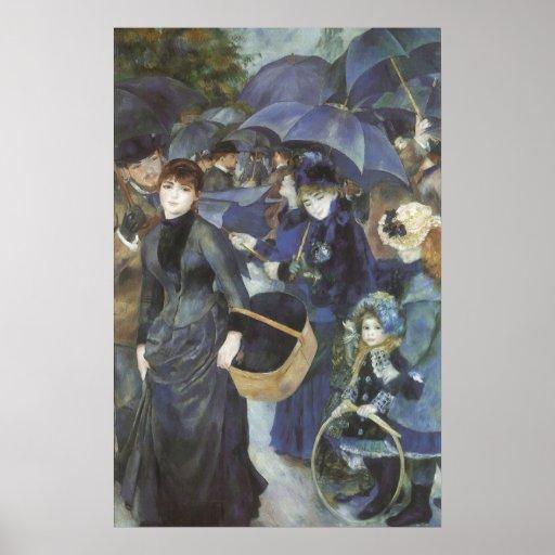 Umbrellas by Renoir, Vintage Impressionism Art Poster