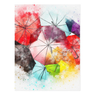 Umbrellas  Colorful Abstract Postcard