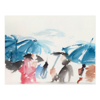 Umbrellas detail Original watercolors Postcard 2