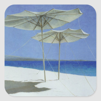 Umbrellas Greece 1995 Square Sticker