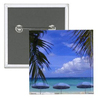 umbrellas on beach, St. Maarten, Caribbean 15 Cm Square Badge
