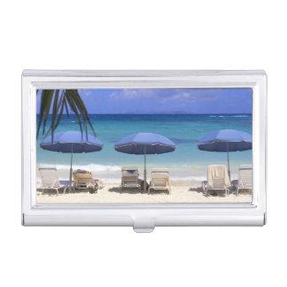 umbrellas on beach, St. Maarten, Caribbean Business Card Holder