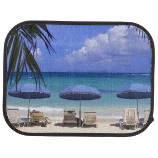 umbrellas on beach, St. Maarten, Caribbean Car Mat
