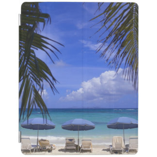 umbrellas on beach, St. Maarten, Caribbean iPad Cover