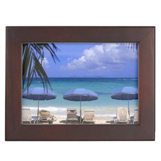 umbrellas on beach, St. Maarten, Caribbean Keepsake Box