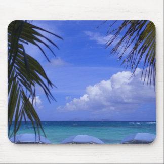 umbrellas on beach, St. Maarten, Caribbean Mouse Mat
