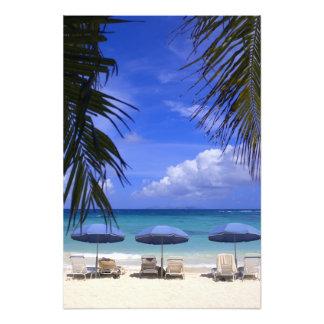 umbrellas on beach, St. Maarten, Caribbean Photographic Print
